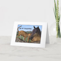 Ginger Cat and Bay Horse Valentine Card