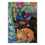 Ginger Cat and Bouquet of Flowers by Valadon Card