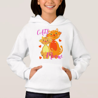 Ginger Cat and Kitten Meow Super Cute Hoodie