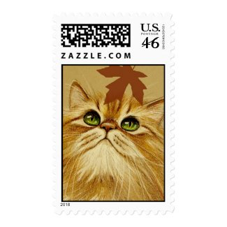 Ginger Cat & Autumn Leaf stamp