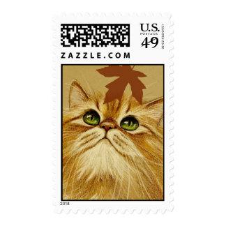 Ginger Cat & Autumn Leaf Stamp