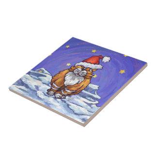 Ginger Cat Christmas Ceramic Tile