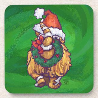 Ginger Cat Christmas On Green Coaster