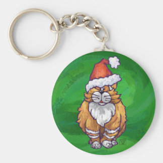 Ginger Cat Christmas On Green Keychain