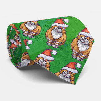 Ginger Cat Christmas On Green Neck Tie