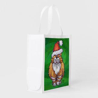 Ginger Cat Christmas On Green Reusable Grocery Bag