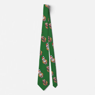Ginger Cat Christmas On Green Tie