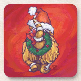 Ginger Cat Christmas On Red Beverage Coaster