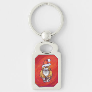 Ginger Cat Christmas On Red Keychain