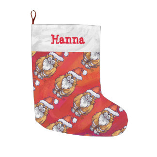 Ginger Cat Christmas On Red Large Christmas Stocking