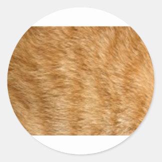 Ginger cat fur classic round sticker
