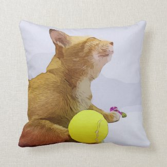 Ginger Cat is playing tennis ball watercolor Throw Pillow