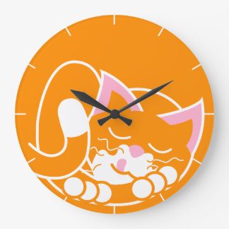 Ginger cat large wall clock