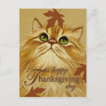 Ginger Cat & Leaves Postcard (Visit shop to explore more sweet and fun cat and animal themed cards and gifts)