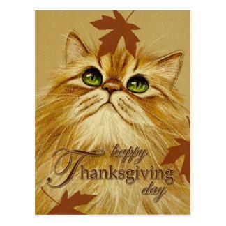 Ginger Cat & Leaves - Postcard