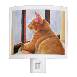 Ginger Cat on a Floral Tablecloth Night Light