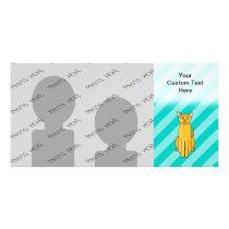 Ginger Cat on Teal Stripes. Card