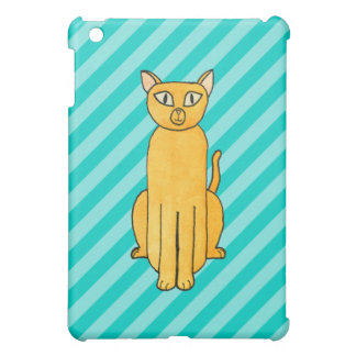 Ginger Cat on Teal Stripes iPad Mini Cover