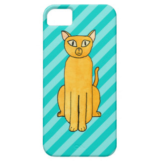 Ginger Cat on Teal Stripes. iPhone SE/5/5s Case