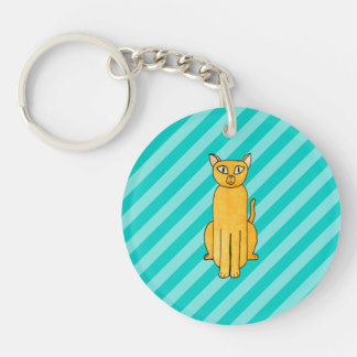 Ginger Cat on Teal Stripes. Keychain