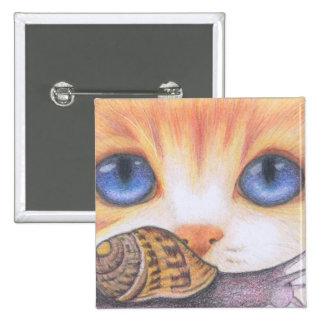 ginger cat & snail button