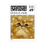 Ginger Cat & Snowflakes Postage Stamps