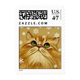 Ginger Cat & Snowflakes Stamp