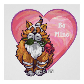 Ginger Cat Valentine's Day Poster
