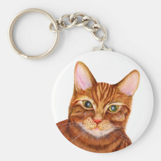 Ginger Cat Watercolour Artwork Painting Keychain