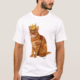 Ginger Cat with Crown Full T-Shirt