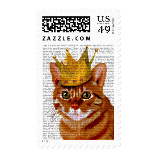 Ginger Cat with Crown Portrai Postage
