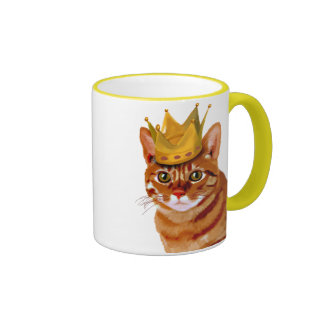 Ginger Cat with Crown Portrai Ringer Coffee Mug