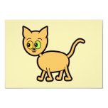 """Ginger Cat with Odd Eyes. 3.5"""" X 5"""" Invitation Card"""