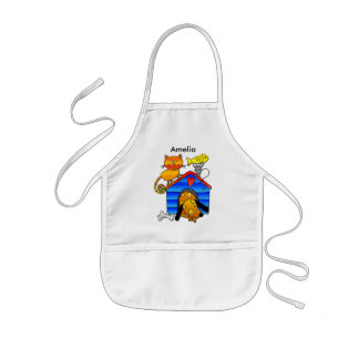 Ginger cat with sleeping dog, mouse and fish kids' apron