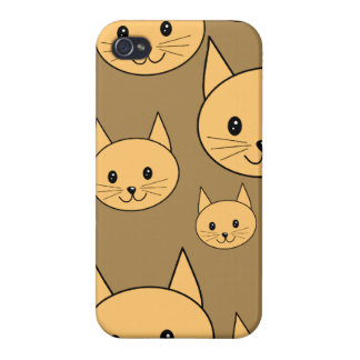 Ginger Cats Pattern on Brown. iPhone 4 Cases