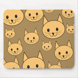 Ginger Cats Pattern on Brown. Mouse Pad