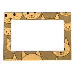 Ginger Cats Pattern on Brown. Photo Frame Magnets