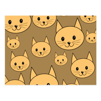 Ginger Cats Pattern on Brown. Postcard