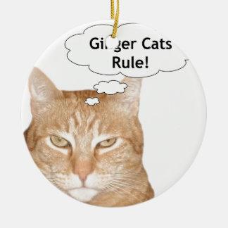 Ginger Cats Rule Ceramic Ornament