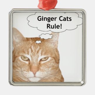 Ginger Cats Rule Square Metal Christmas Ornament