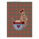 ginger girl sitting on mixing bowl greeting card