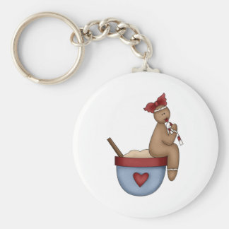 ginger girl sitting on mixing bowl basic round button keychain