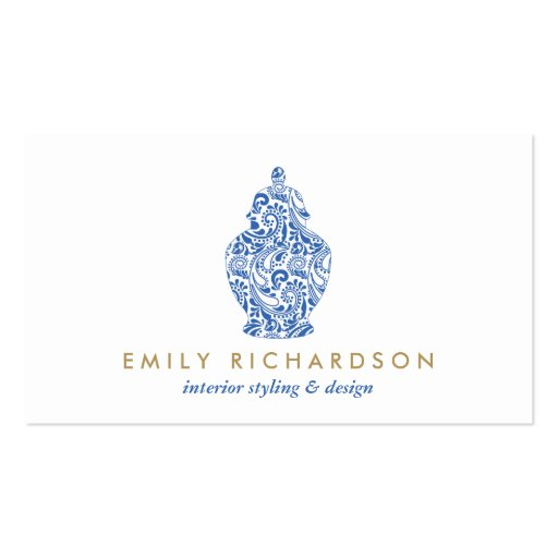 GINGER JAR LOGO DESIGN in WHITE and BLUE II Business Card Templates