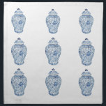 "GINGER JAR NAPKINS<br><div class=""desc"">This set of 4 20x20 inch dinner napkins features a classic blue and white porcelain ginger jar based on an ancient Chinese artifact from an original gouache/ink painting by artist Anne Harwell.</div>"
