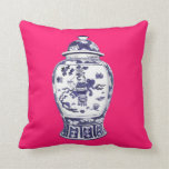 Ginger Jar on Fuschia 2 sided image Throw Pillow