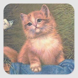 """Ginger Kitten and Butterfly"" Square Sticker"