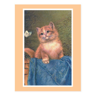 """""""Ginger Kitten and Butterfly"""" Vintage Postcard"""