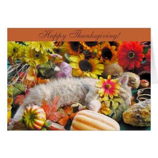 Ginger Kitten in Fall Autumn Harvest, Thanksgiving Card