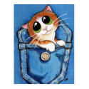 Ginger Kitten in Pocket Art Postcard