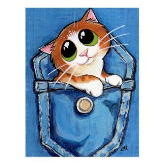 Ginger Kitten in Pocket Art Postcard